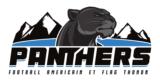 logo du club de football américain Black Panthers. Panthère noire et montagnes en fond