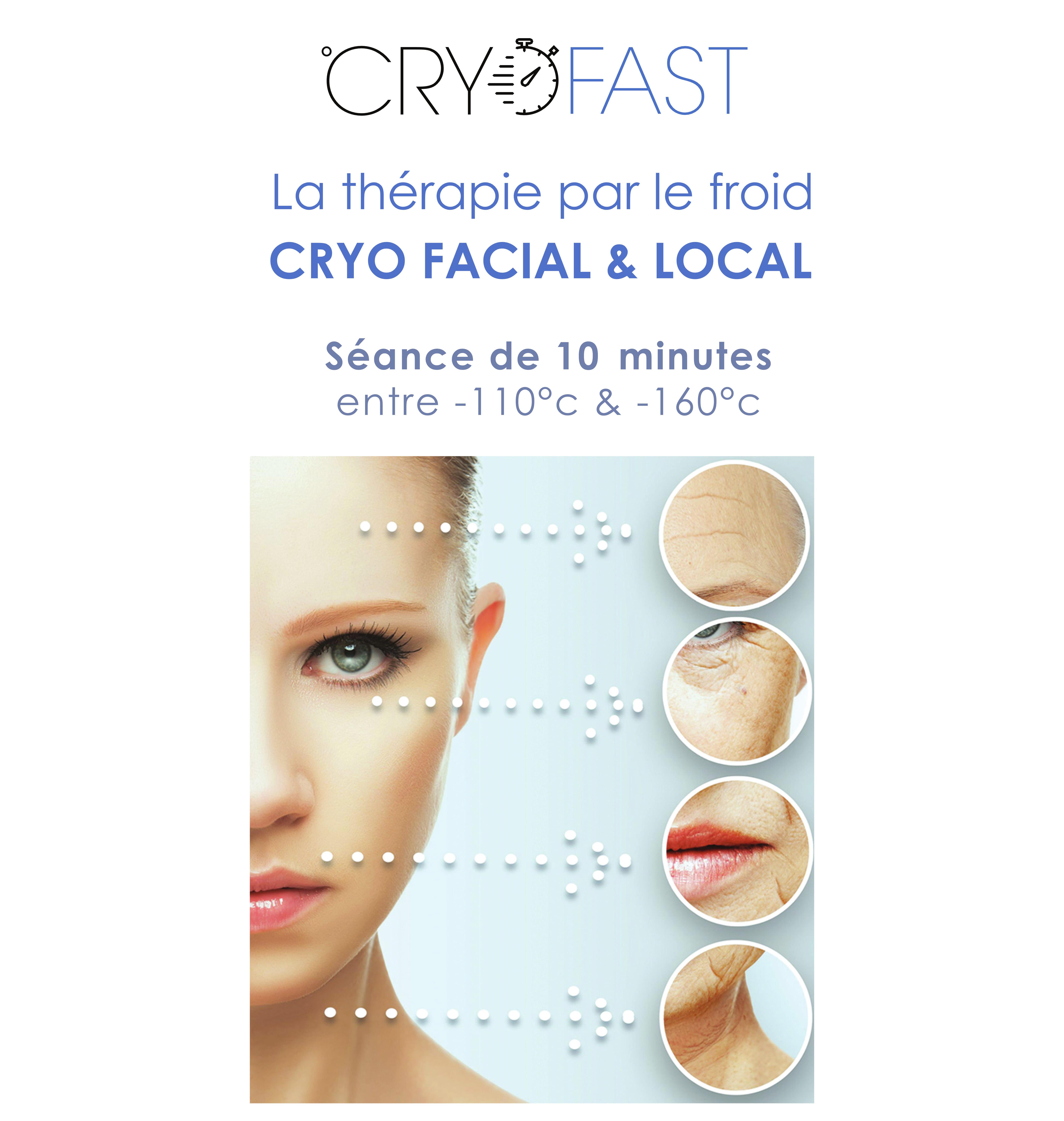 visage et zoom sur les points traités par la cryothérapie facial cryofast