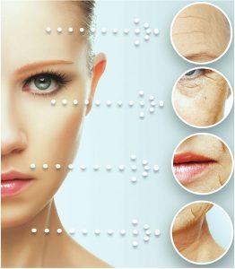 visage de femme avec indication des bienfaits de la cryotherapie