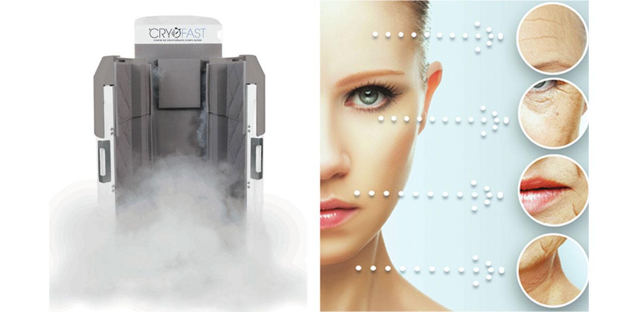 cabine de cryotherapie cryofast à gauche d'un visage de femme avec indication des bienfaits de la cryotherapie