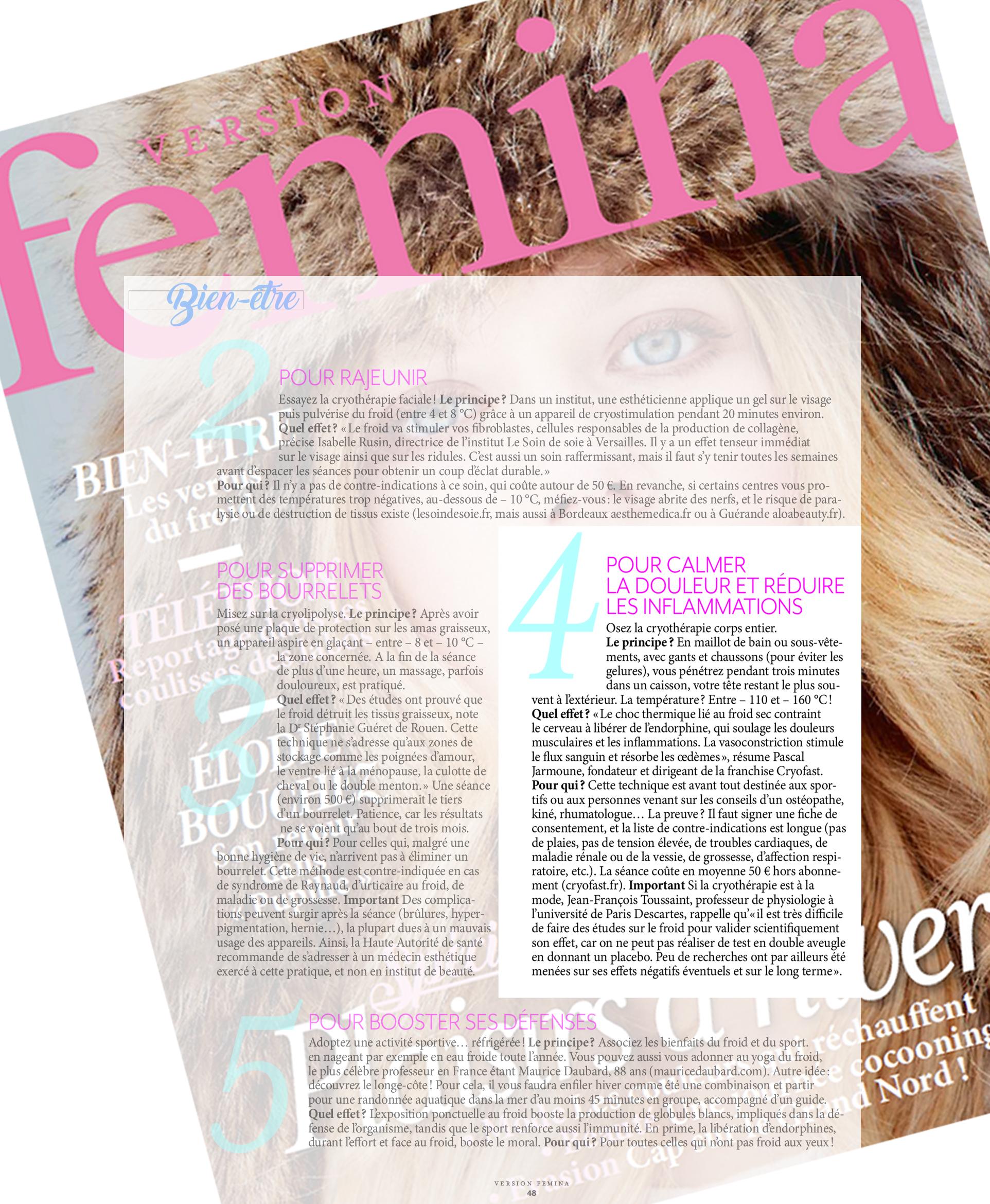 montage avec la couverture du magazine version femina sur laquelle est aposée la page de l'article citant cryofast et la cryotherapie